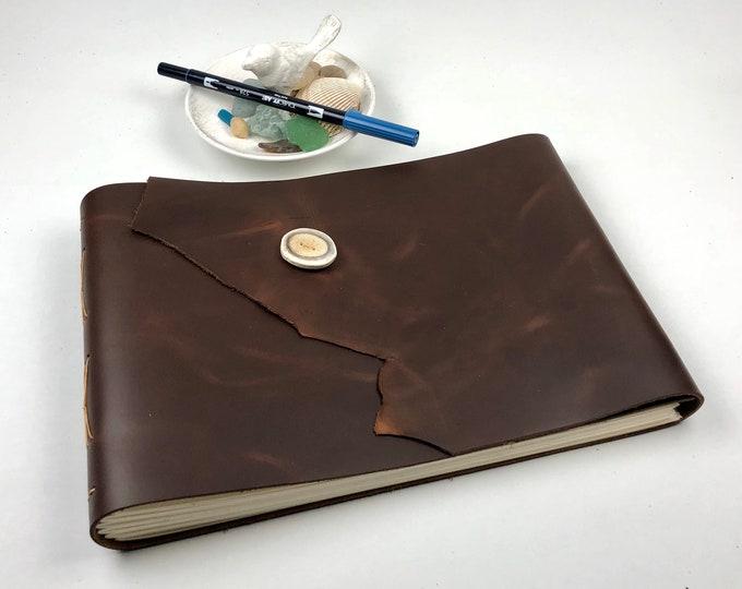 Brown Leather Sketchbook, Art Journal, Photo Album, OOAK
