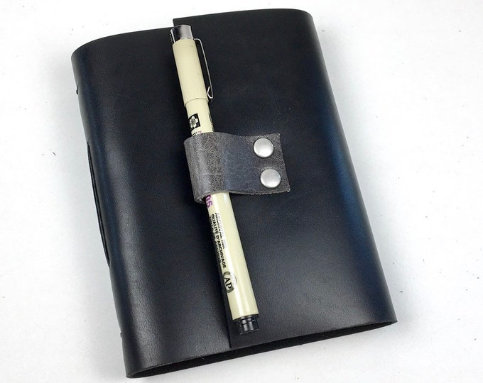 Handbound Journal, Black Leather with Blank Pages