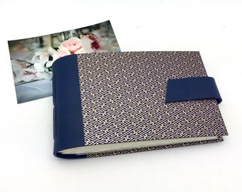 4x6 Photo Album in Navy and Gold Easy Load Anniversary Gift Personalize It / In Stock