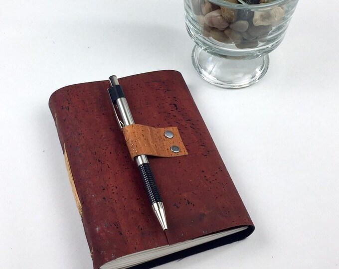 Handbound Vegan Journal, Cork Leather Alternative with Blank Pages