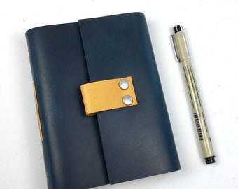 Handbound Leather Journal, Parisian Blue with Pen Loop and Blank Pages