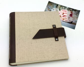 Handbound Scrapbook Album - 8x8 Leather and Linen - Optional Title Page - In Stock