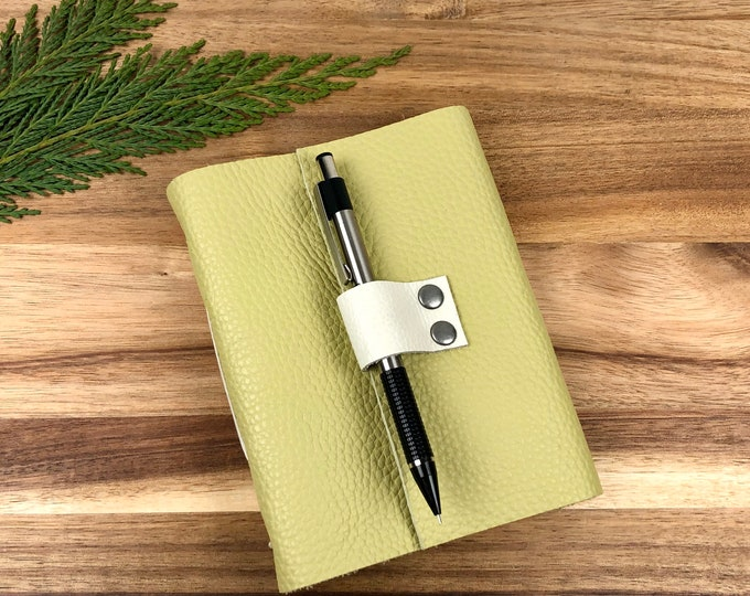 Handbound Leather Journal, Lemongrass with Blank Pages