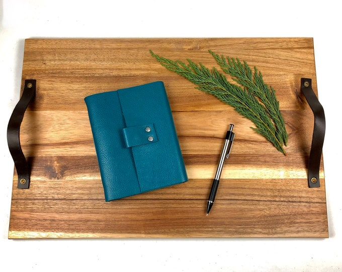 Handbound Leather Journal, Teal with Blank Pages