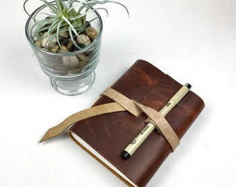 Handbound Leather Journal, Distressed Burgundy Leather with Blank Pages
