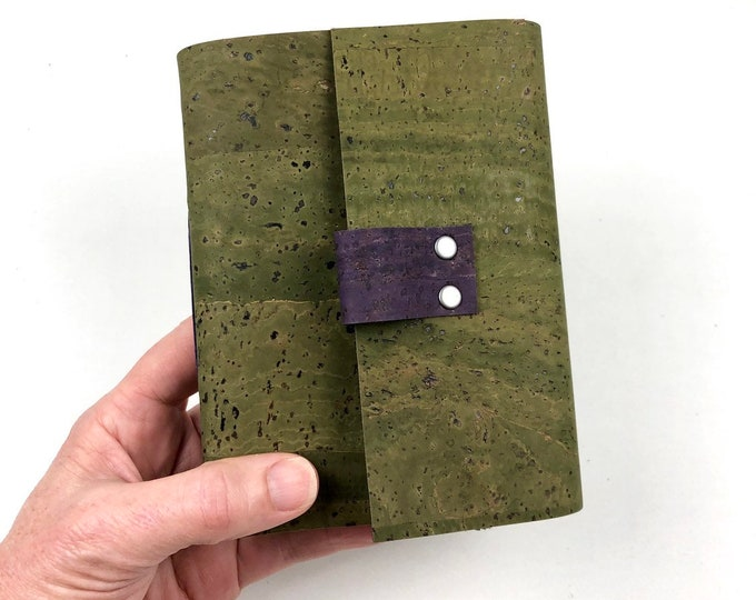 Handbound Vegan Journal, Olive Green Cork, Leather Alternative with Blank Pages
