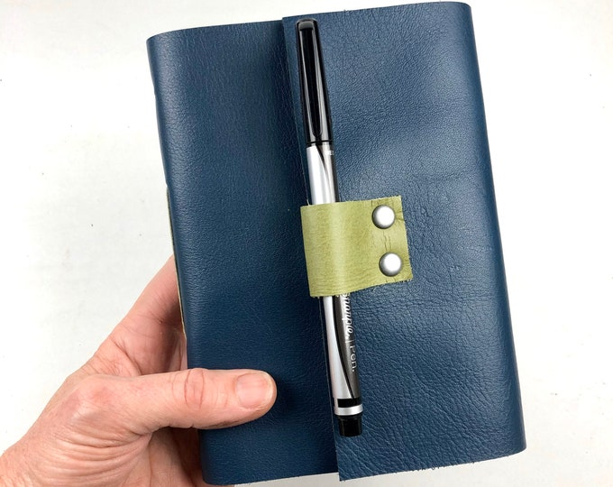 Lined Leather Journal in Navy, Handbound, Monogram Available