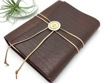 Large Leather Sketchbook with Antler Button - In Stock