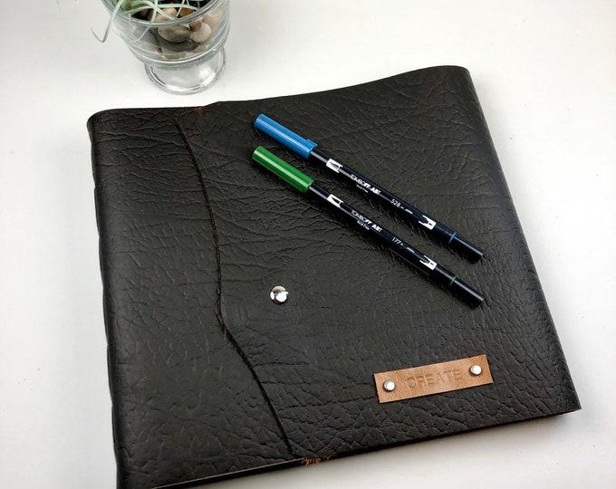 Jumbo Leather Art Journal / Sketchbook / Photo Album / Bison Leather OOAK