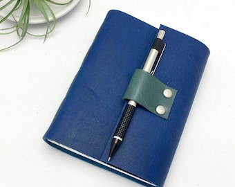 Small Leather Journal in Sapphire Blue - In Stock