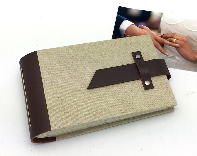 Mini Photo Album - Leather and Linen - holds 48 4x6 photos