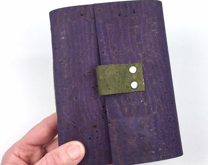 Handbound Vegan Journal, Purple Cork, Leather Alternative with Blank Pages