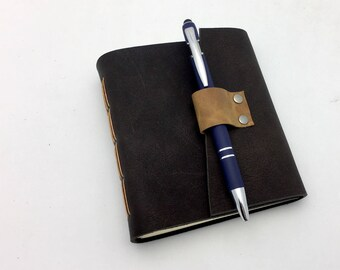 Small Rustic Dark Espresso Leather Journal Sketchbook - In Stock