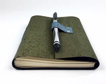 Handbound Vegan Journal, Lined, Green Cork, Leather Alternative