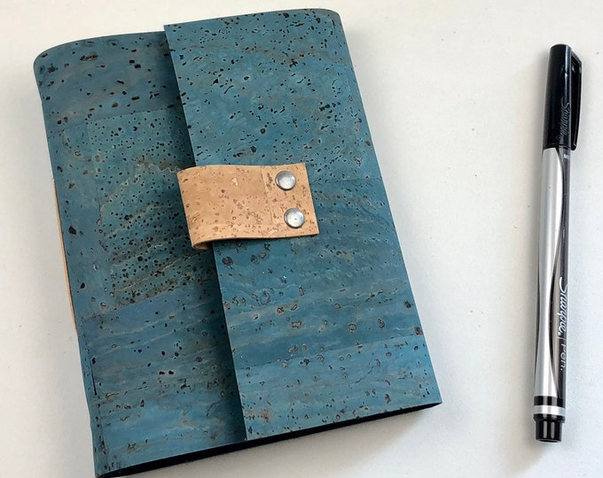 Handbound Vegan Journal, Teal Cork with Blank Pages