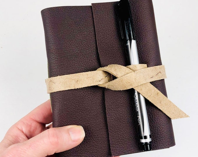 Handbound Leather Journal, Raisin Leather with Blank Pages