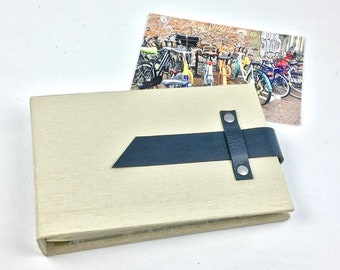 4x6 Mini Photo Album with Sleeves and Navy Leather Strap / Title Card Available