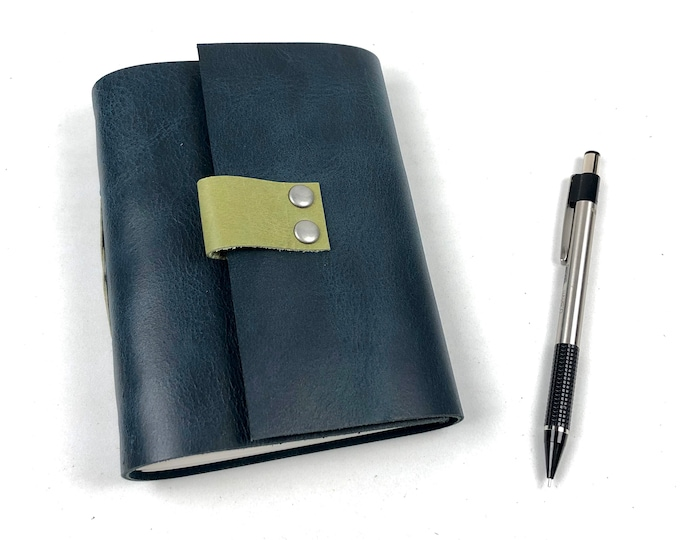 Leather Journal, Navy with Lined Pages, Monogram Available