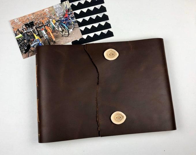 Brown Leather Sketchbook, Art Journal, Photo Album / OOAK