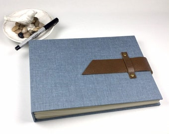 Custom Photo Guest Book with Leather Strap and Optional Title Page