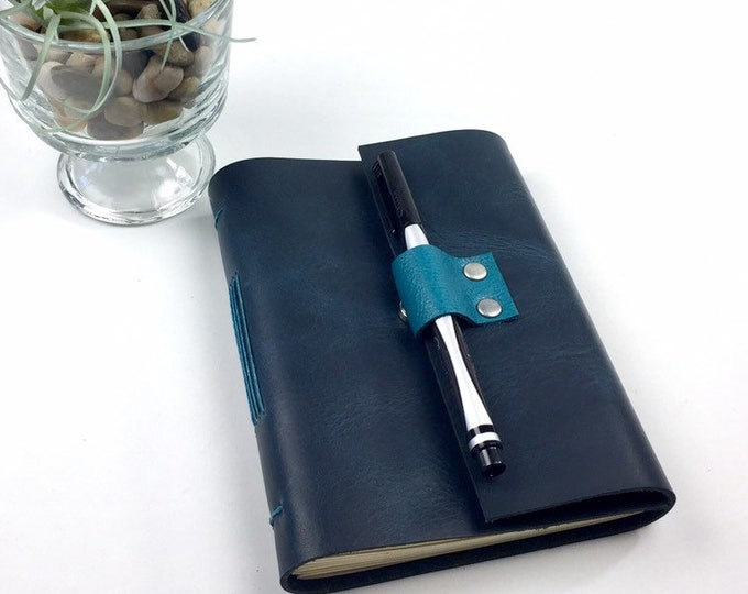 Handbound Lined Journal in Parisian Blue Leather