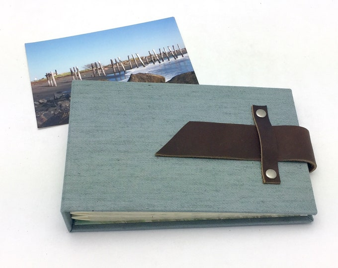 4x6 Mini Photo Album with Sleeves and Leather Strap / Personalize it