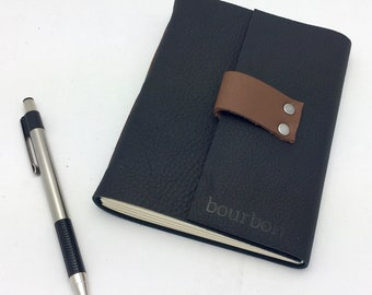 Leather Bourbon Tasting Notebook - Textured Black