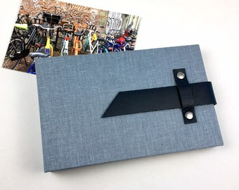 4x6 Denim Blue Mini Photo Album with Sleeves and Leather Strap / Title Card Available