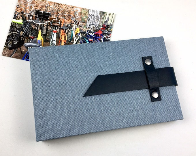 Featured listing image: 4x6 Denim Blue Mini Photo Album with Sleeves and Leather Strap / Title Card Available