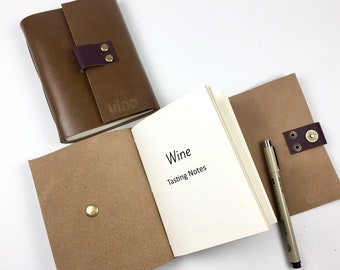 Wine Tasting Journal Notebook for Wine Lovers, Handbound in Cigar Leather