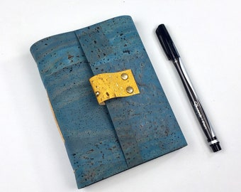 Handbound Vegan Journal, Teal Cork, Leather Alternative with Blank Pages