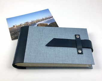 Denim Blue Mini Photo Album with Sleeves for 4x6 photos / Personalize it