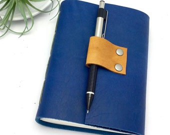 Small Lined Leather Journal in Sapphire Blue - Add a Monogram