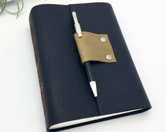 Lined Leather Journal in Deep Navy - In Stock