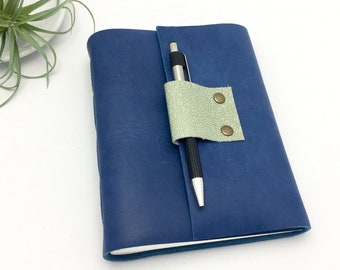 Leather Journal in Sapphire Blue - Add a Monogram