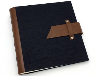 Handbound Scrapbook Album - 8x8 Leather and Black Canvas - In Stock