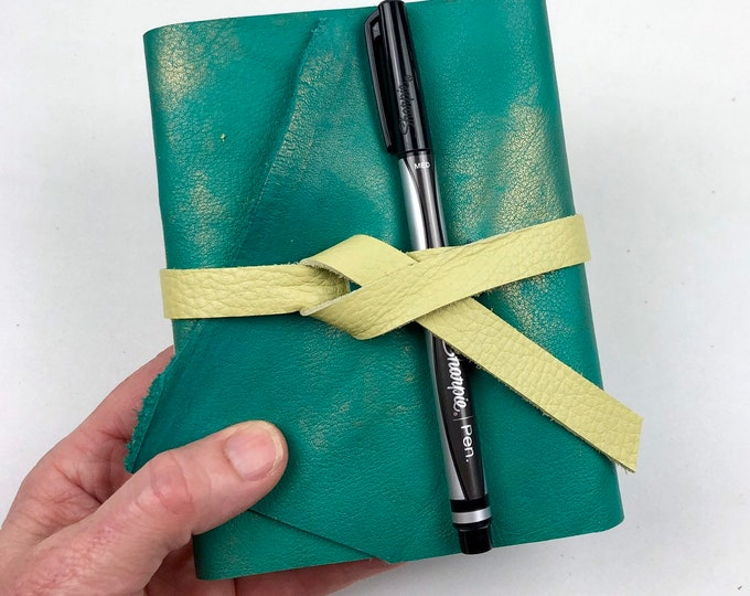 Handbound Leather Journal, Teal Leather with Blank Pages
