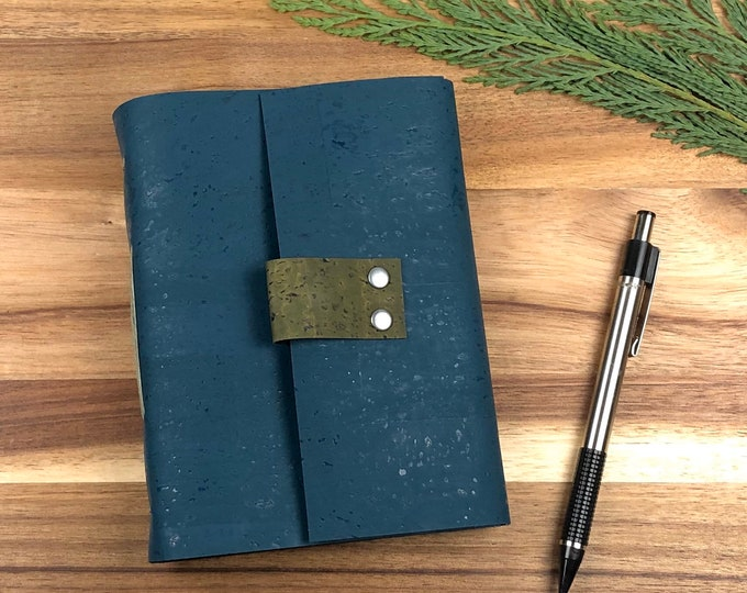 Handbound Vegan Notebook, Cork Cover with Unlined Pages