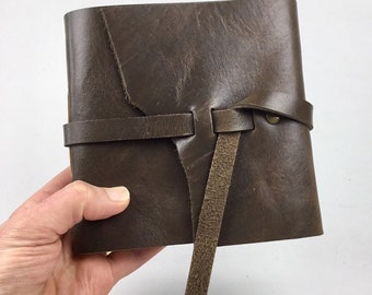Handbound Leather Journal, Distressed Brown with Blank Pages