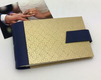 4x6 Wedding Photo Album with Leather Anniversary Gift Personalize It / In Stock