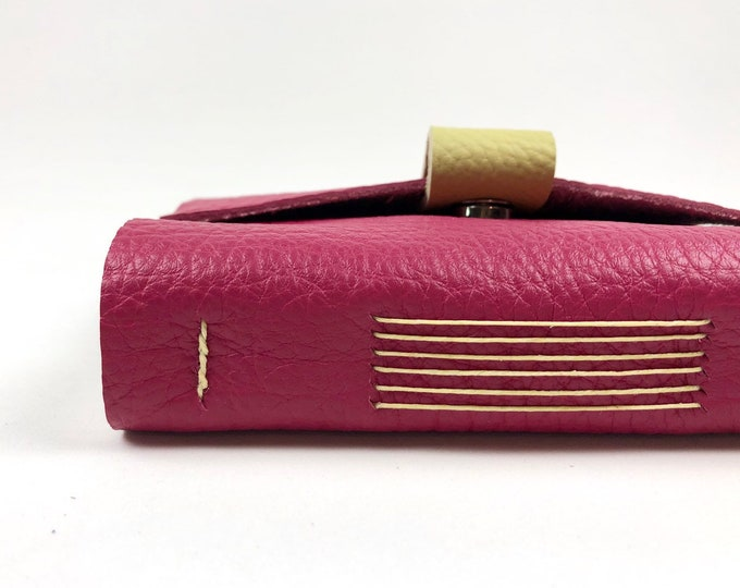 Handbound Leather Journal, Raspberry with Blank Pages