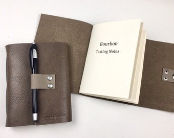 Bourbon Tasting Journal Notebook Hand Bound in Bark Leather
