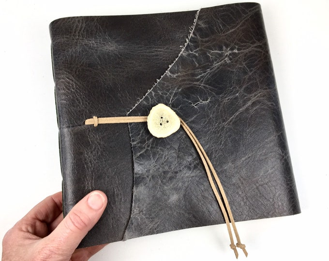Leather Sketchbook, Art Journal, Photo Album in Distressed Gray, Monogram Available