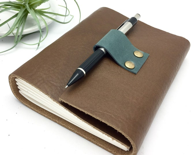 Small Leather Journal in Warm Brown - Add a Monogram