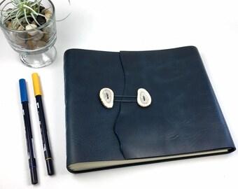 OOAK Leather Art Journal / Sketchbook / Photo Album in Parisian Blue