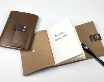 Bourbon Notebook for Bourbon Lovers Handbound in Cigar Leather