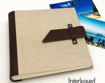 Hand-Interleaved Photo Album - 8x8 Leather and Linen - In Stock