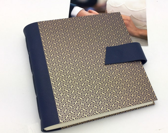 Wedding Scrapbook Album, 8x8 inch, Navy Leather with Gold, Anniversary Gift, Personalize It