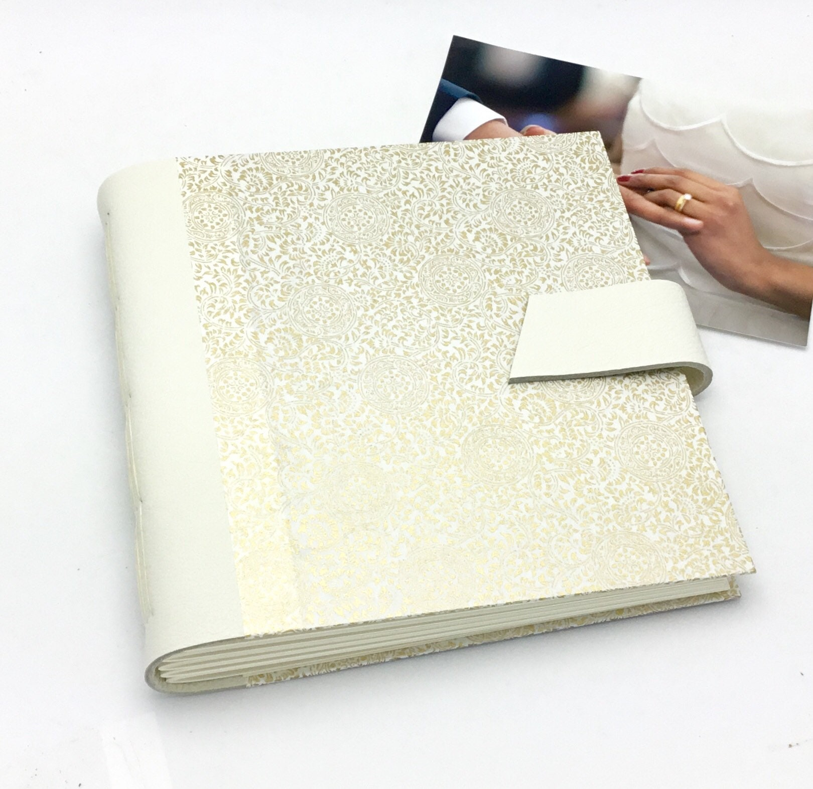 Wedding Scrapbook Album 8x8 Inch Ivory Leather And Gold
