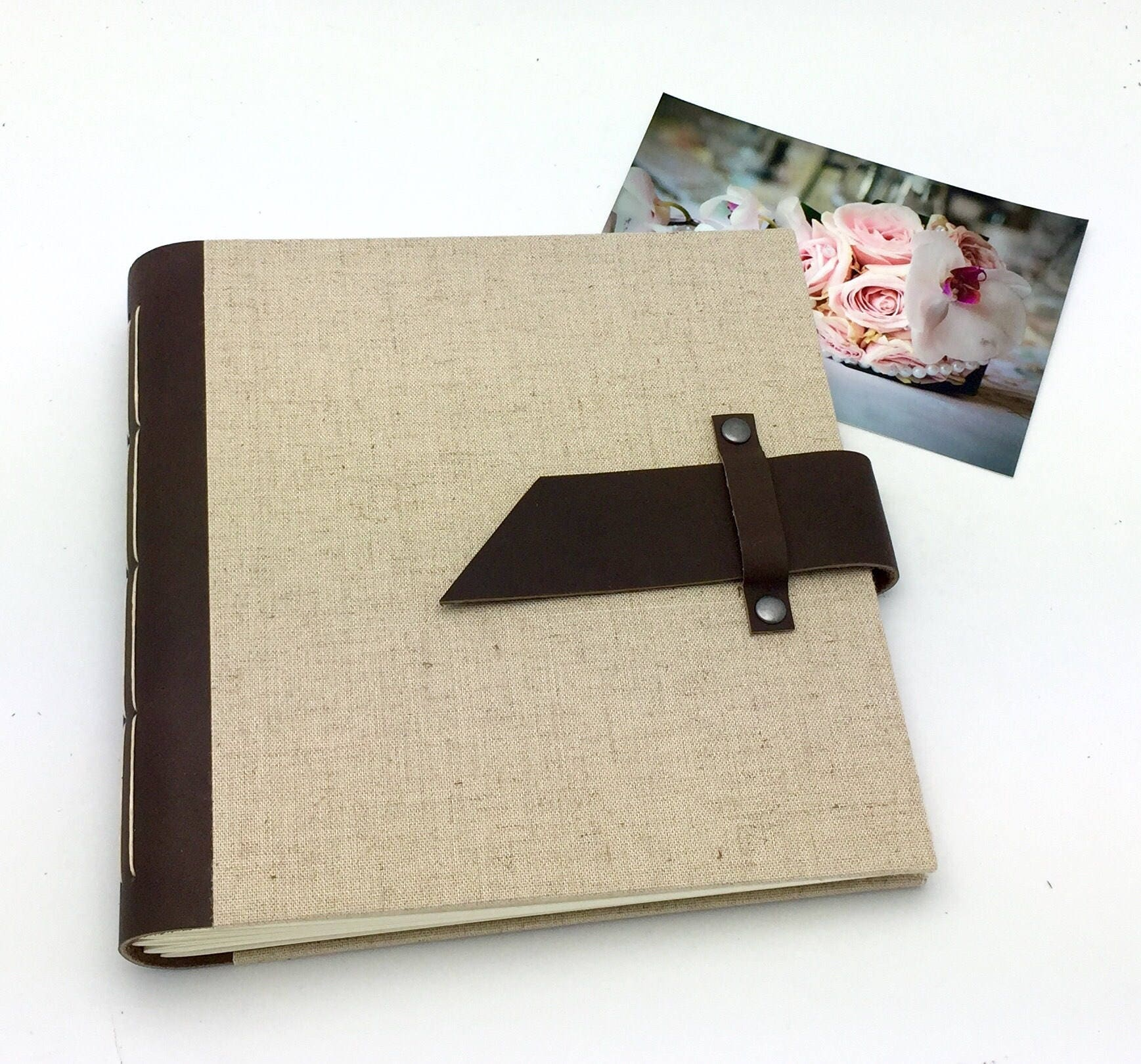 Handbound Scrapbook Album 8x8 Leather And Linen Optional Title